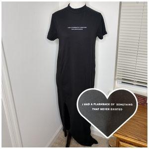 Zara Black S/S Graphic Maxi Dress w/ Slit NWOT